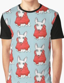 English Bull Terrier Wearing Red Chunky Knit Graphic T-Shirt
