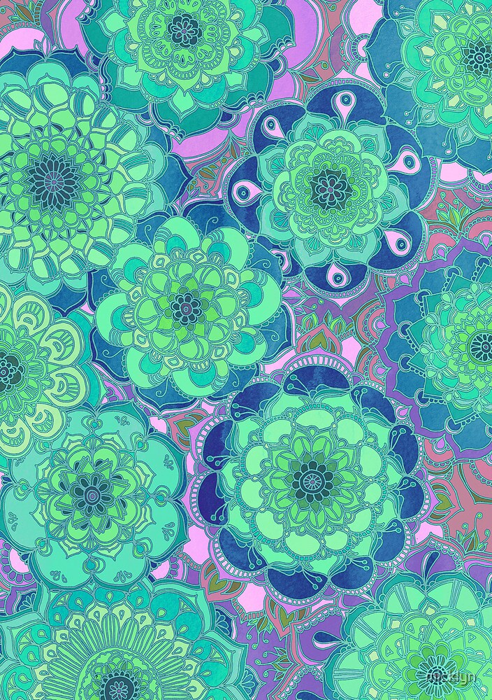 Fantasy Flowers in Mint Green & Purple by micklyn