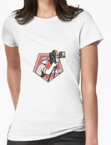 Cameraman Vintage Film Reel Camera Retro Womens Fitted T-Shirt