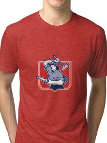 Fireman Firefighter Wielding Fire Axe Tri-blend T-Shirt