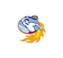 tennis, player, sport, racquet, net, male, man, shield, crest, stars, single, illustration, artwork, graphics, retro Photographic Print