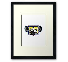 Weightlifter Lifting Heavy Barbell Retro Framed Print