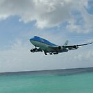 KLM 747 about to land at Maho Beach Saint Maarten Island by mikequigley