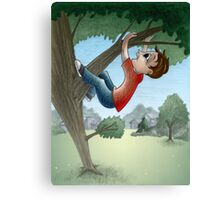 Boy climbing tree Canvas Print