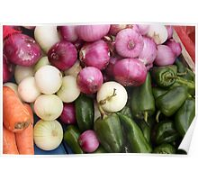 Onions Carrots and Peppers Poster