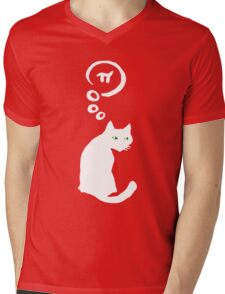 Lucky Cat with thought bubble thinking of Pi Mens V-Neck T-Shirt