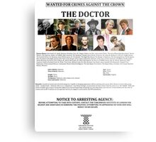 Wanted: The Doctor Metal Print