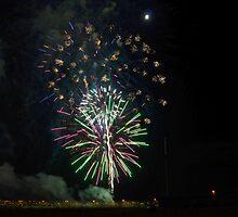Fireworks & Moon by Eleu Tabares