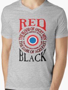 Red and Black Mens V-Neck T-Shirt