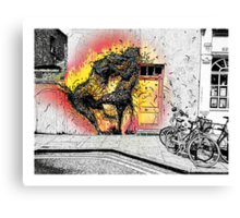 Cat fight in Shoreditch! Canvas Print