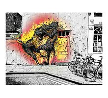 Cat fight in Shoreditch! Photographic Print
