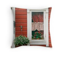 Red Wooden House With Plants Throw Pillow