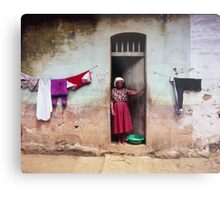 Woman In Front Of The House Metal Print