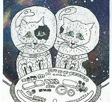 Postcard from Space Cats by Kalnybolotska