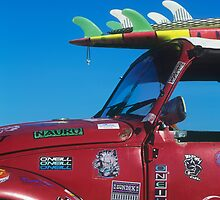 Surfboard On Volkswagen Beetle by printscapes