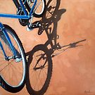 Just For One - Cycling bicycle art oil painting by LindaAppleArt