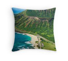 Koko Crater and Sandy Beach Park, Oahu Throw Pillow