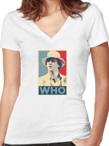 Doctor Who Peter Davison Barack Obama Hope style poster Women's Fitted V-Neck T-Shirt