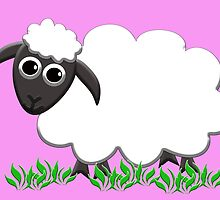 White Wooly Lamb with Pink by M Fernandez