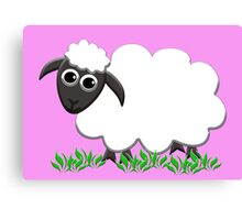 White Wooly Lamb with Pink Canvas Print