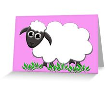 White Wooly Lamb with Pink Greeting Card
