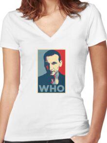 Doctor Who Chris Eccleston Barack Obama Hope style poster Women's Fitted V-Neck T-Shirt