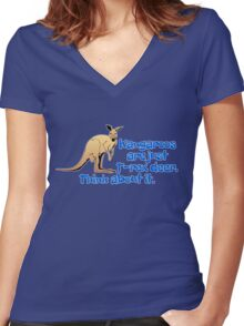 Kangaroos are just T-rex deer. Think about it. Women's Fitted V-Neck T-Shirt