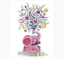 Spring Bouquet - Rondy the Elephant holding beautiful flowers Kids Tee