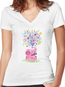 Spring Bouquet - Rondy the Elephant holding beautiful flowers Women's Fitted V-Neck T-Shirt