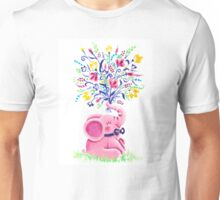 Spring Bouquet - Rondy the Elephant holding beautiful flowers Unisex T-Shirt