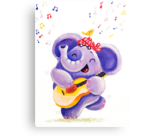 Playing Guitar - Rondy the Elephant musician Canvas Print