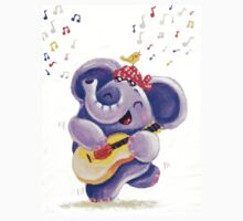 Playing Guitar - Rondy the Elephant musician Kids Clothes
