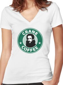 Crane Coffee Women's Fitted V-Neck T-Shirt
