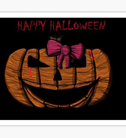 Happy Halloween Pink Bow Sticker