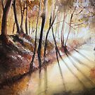 Break in the clouds - Watercolor by nicolasjolly