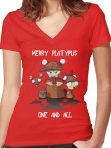 Merry Platypus Women's Fitted V-Neck T-Shirt