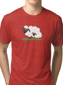 Mom & Lamb with Hot Pink Tri-blend T-Shirt