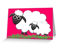 Mom & Lamb with Hot Pink Greeting Card