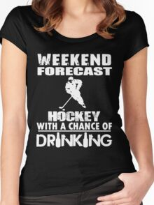 HOCKEY WITH A CHANCE OF DRINKING Women's Fitted Scoop T-Shirt