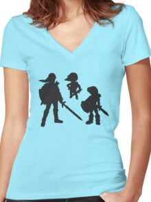 The Three Links - The Young, Toon, and Old Women's Fitted V-Neck T-Shirt