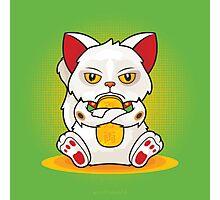 Maneki 'Grumpy' Neko Photographic Print