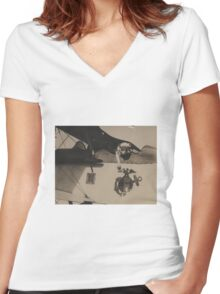 Vintage Black and White Military Bulldog Aviation Women's Fitted V-Neck T-Shirt