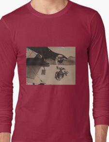 Vintage Black and White Military Bulldog Aviation Long Sleeve T-Shirt