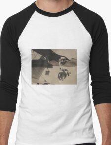 Vintage Black and White Military Bulldog Aviation Men's Baseball ¾ T-Shirt