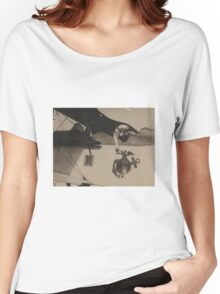 Vintage Black and White Military Bulldog Aviation Women's Relaxed Fit T-Shirt