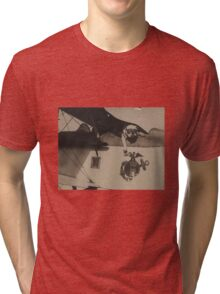 Vintage Black and White Military Bulldog Aviation Tri-blend T-Shirt