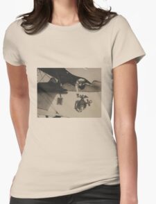 Vintage Black and White Military Bulldog Aviation Womens Fitted T-Shirt