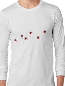 T Shirt with row of Bullet Holes Long Sleeve T-Shirt