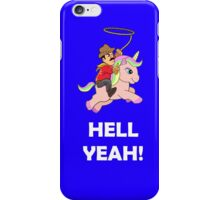 Cowboy Unicorn, White text iPhone Case/Skin
