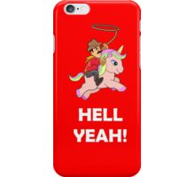 Cowboy Unicorn, Black text iPhone Case/Skin